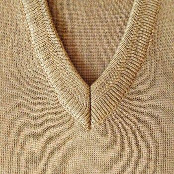 Franco Ponti  Merino Wool Blend V Neck Sweater - Camel