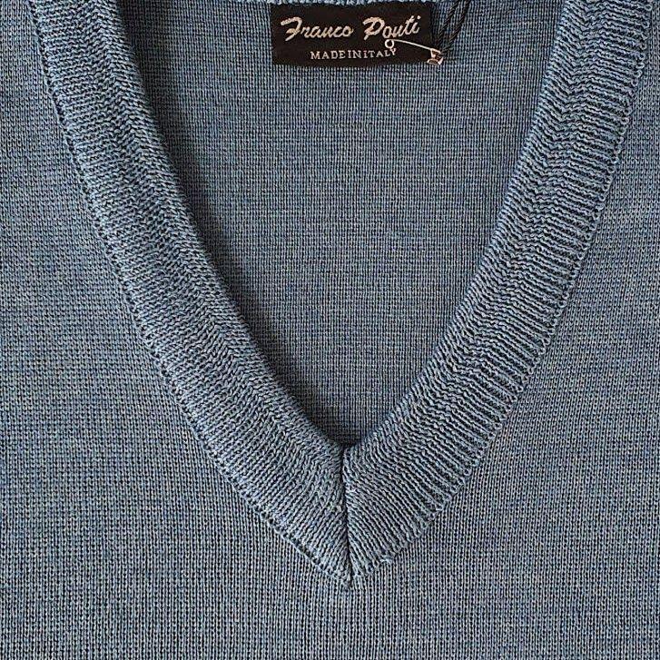 Franco Ponti  Merino Wool Blend V Neck Sweater - Denim