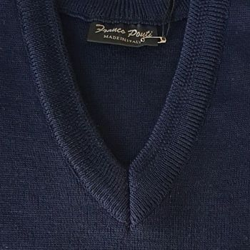 Franco Ponti  Merino Wool Blend V Neck Sweater - Navy