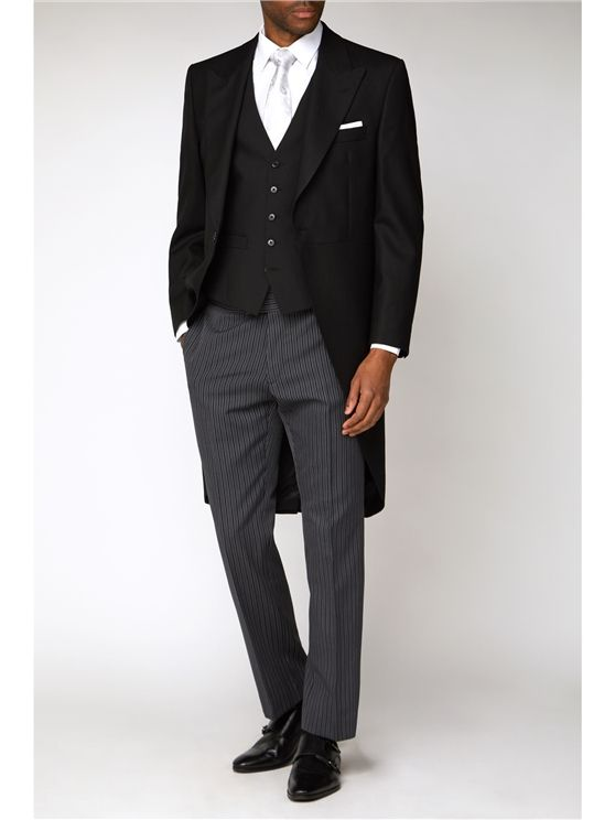 Herringbone Tailcoat with matching waistcoat and striped trousers