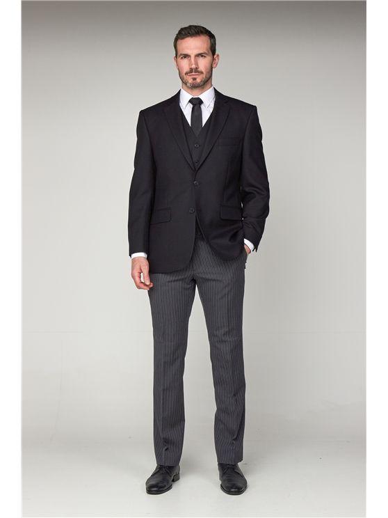 Black Herringbone Masonic Jacket (matching waistcoat and striped trousers a