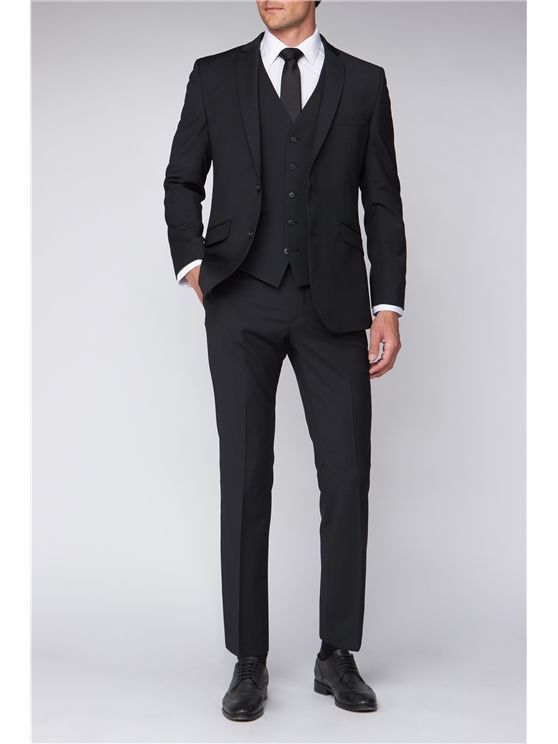Scott by The Label Black Contemporary Fit Suit Jacket (matching  waistcoat