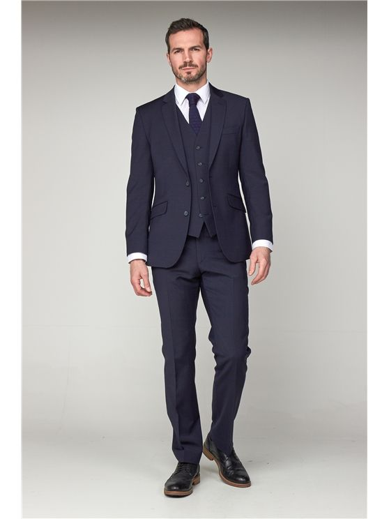 Scott by The Label  Navy Contemporary Fit Suit Jacket (matching  waistcoat