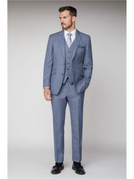 Scott by The Label  Light blue sharkskin  Contemporary Fit Suit Jacket (matching  waistcoat and trousers also available) Not available to buy online -