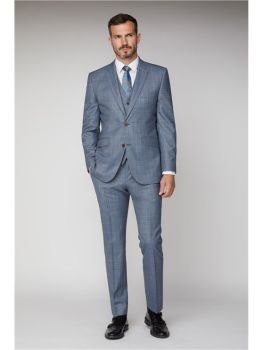 Scott by The Label Light Blue Sharkskin with Tan Overcheck Contemporary Fit Suit Jacket (matching  waistcoat and trousers also available) Not availabl
