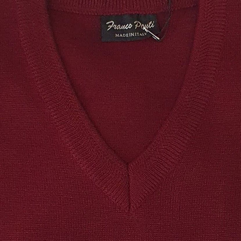 Franco Ponti  Merino Wool Blend V Neck Sweater - Wine