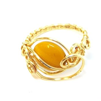 Mookite Gemstone in a Gold Weave