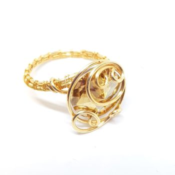 Swarovski crystal Ring in Gold Weave