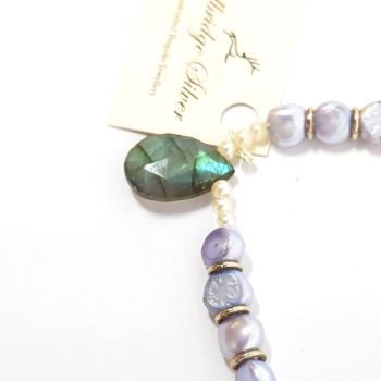 Freshwater Lavender Pearls and Labradorite Gemstone