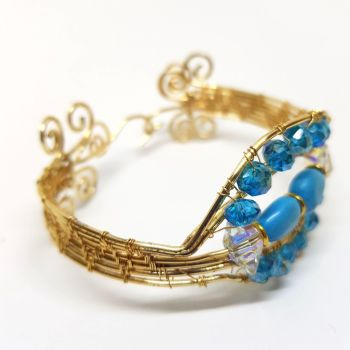 Swarovski  and Gold Weave Bracelet