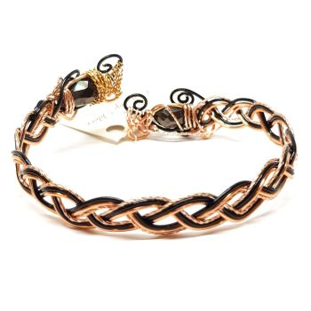 Celtic Weave Copper and Black Bracelet