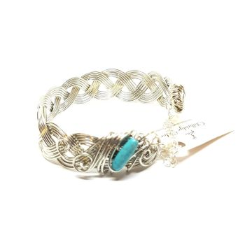 Silver and Turquoise Celtic Bracelet