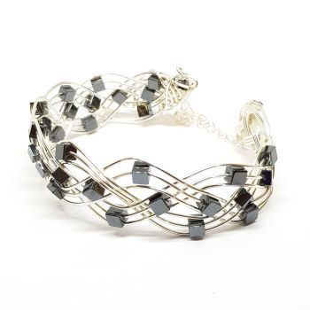 Hematite Gemstone in Silver Celtic Weave Bracelet
