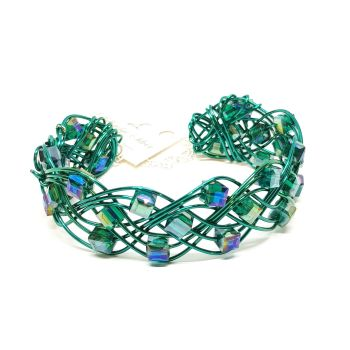 Teal Green Celtic Weave Bracelet