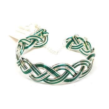 Teal and Silver Celtic Weave Bracelet