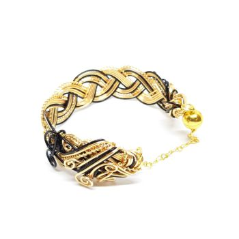 Gold and Black Celtic Weave Bracelet