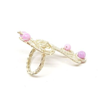 Pink opal silver Weave Ring
