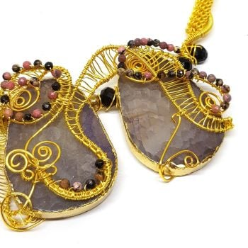 Scottish Crackled Agate Lilac and Gold