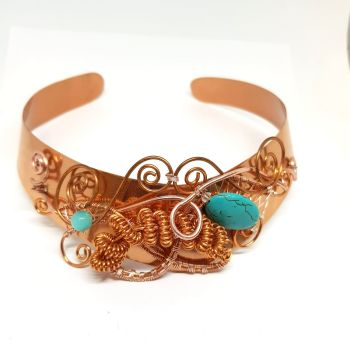 Copper and Turquoise Torque