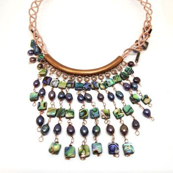 Copper and Peacock Freshwater Pearls Necklace