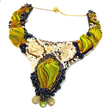 Lime Silk And Pearls Neck Piece