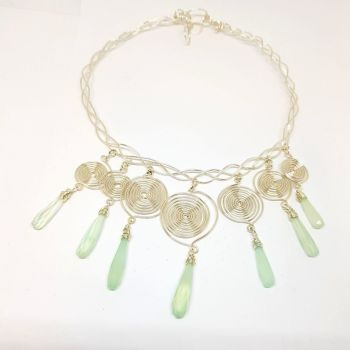 Chalcedony Droplets and Silver Swirls Necklace