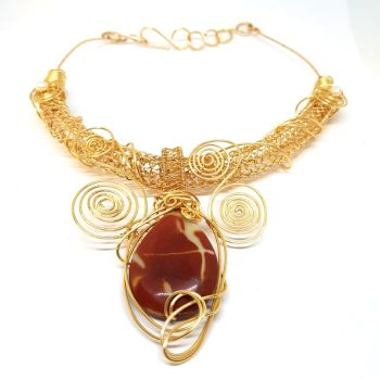 Large Torque Gold Weave with Mookite Gemstones