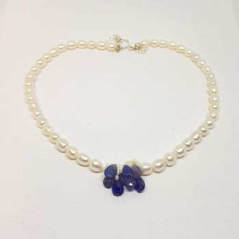 Tanzanite and Fresh Water Pearls Necklace