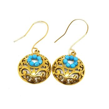 Gold Filigree and Turquoise Earrings