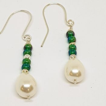 Pearls and Green Bead Earrings