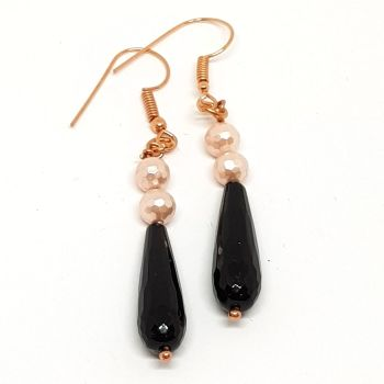 Black Onyx and Champagne Faceted Pearl Earrings