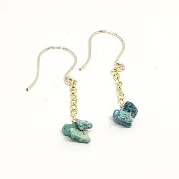 Turquoise and Chain Drop Earrings