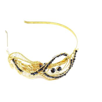 Black and Gold Gemstone Headband