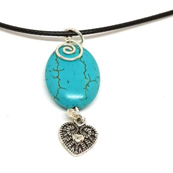 Turquoiuse gemstone with silver heart Pendant