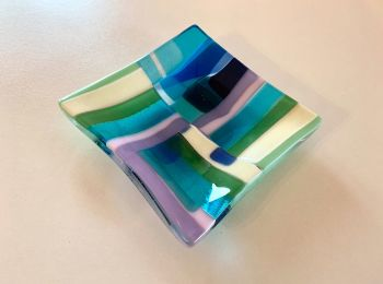 'Pastel Coast', Fused glass plate