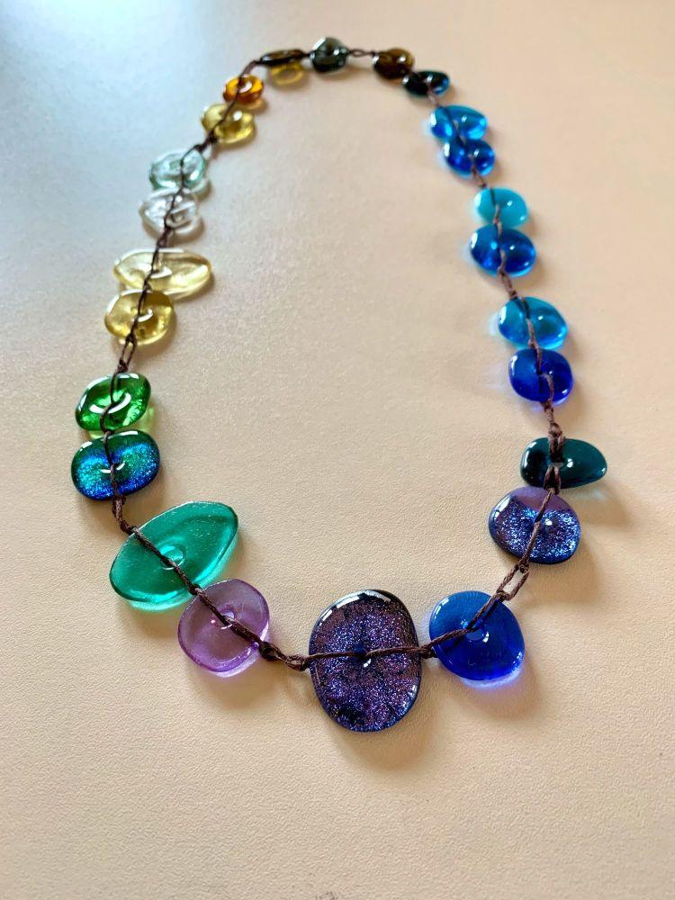 Colourscape Pebble Necklace - Blue, aqua, green