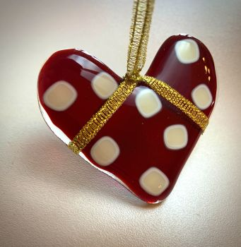Small Dotty Heart -  Ruby Red with Cream dots