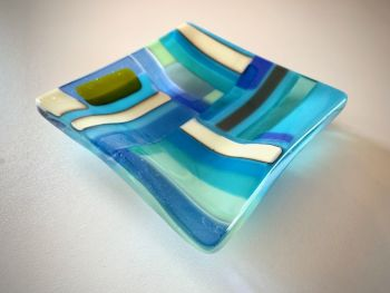 'Aqua Sea'              14x14cm Glass Plate