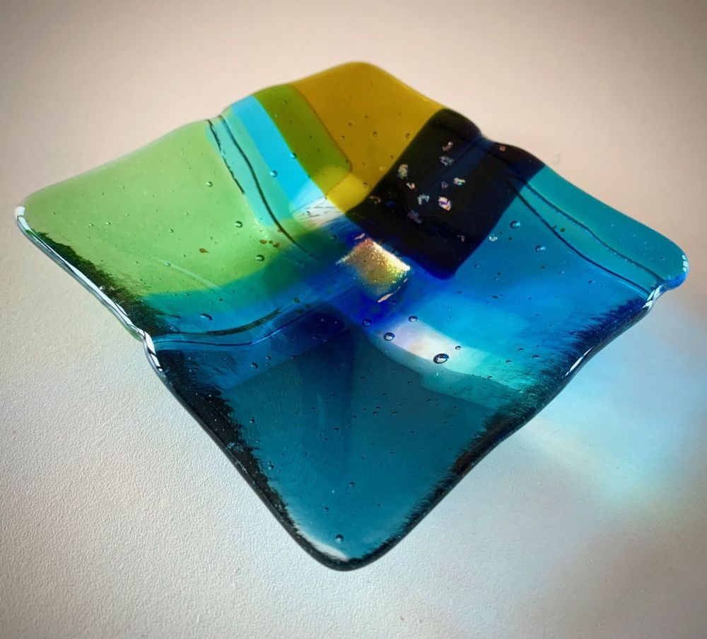 'Scattering Blue', Tapestry Land series Glass Plate