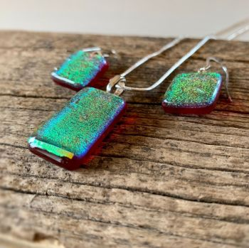 """'Ruby Gold',   kiln-formed glass Pendant and earrings Set, Parure """"Or rouge"""""""