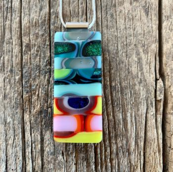 "'Intricate Allsorts',  multi-fired glass pendant, pendentif ""Assemblage"""