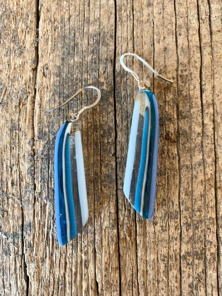 'Blue & White Stripe' Feather Earrings,