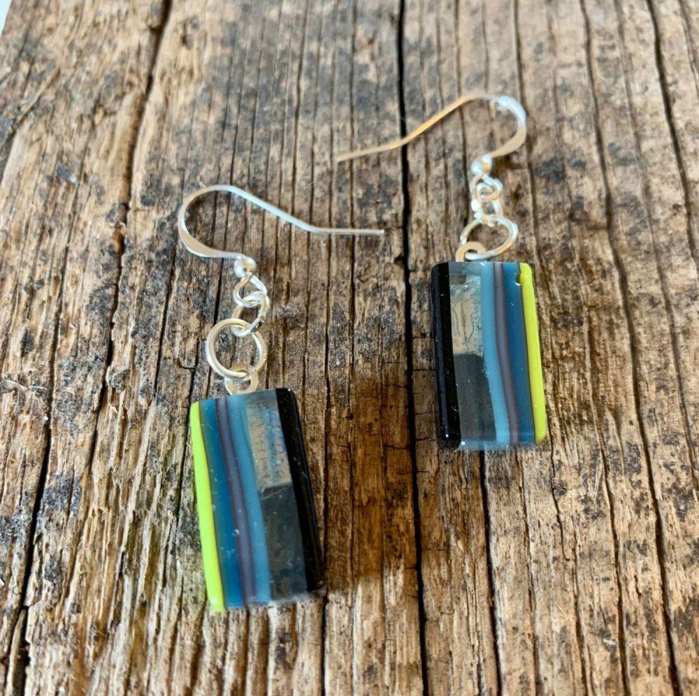 'Lime Stripe' Chain Earrings