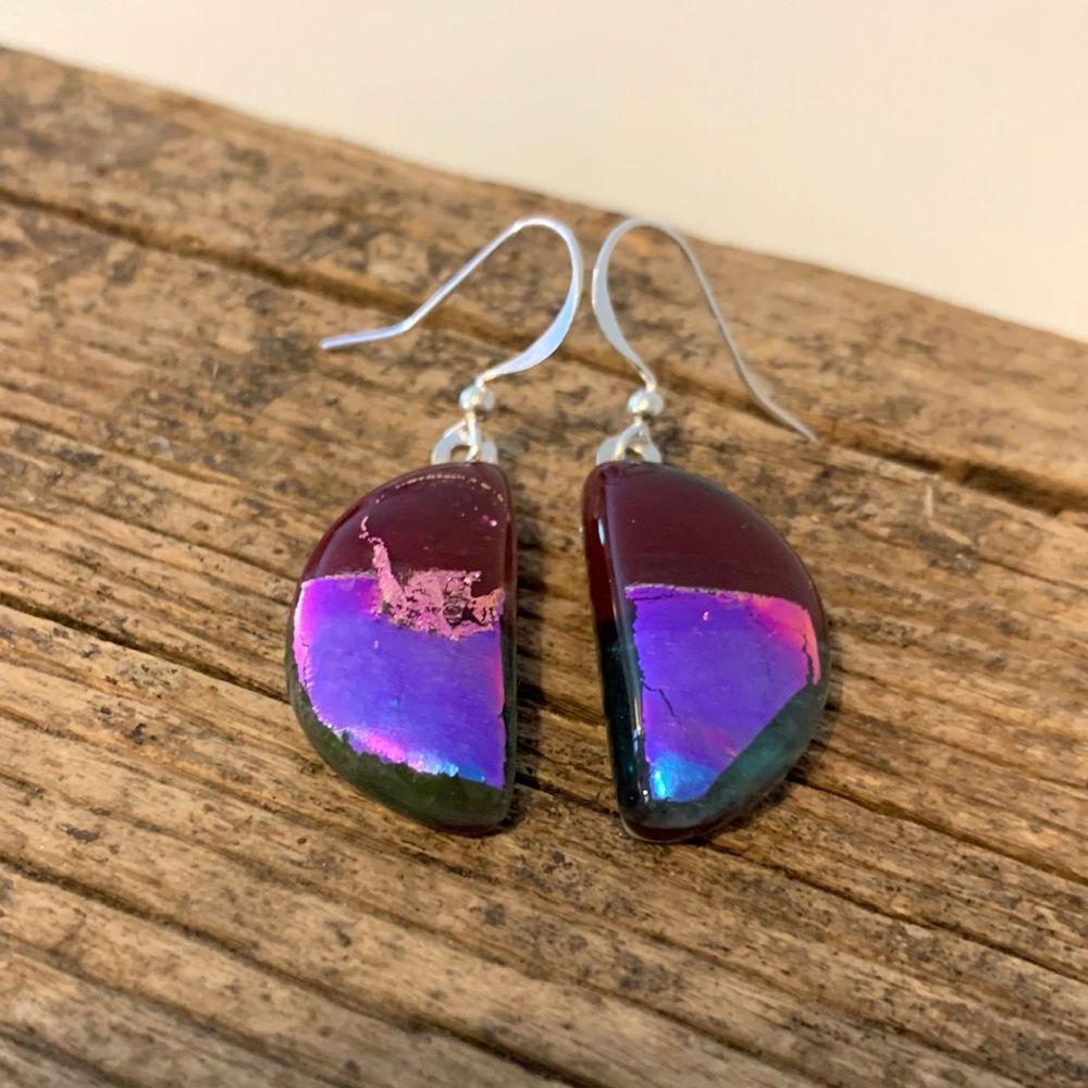 'Bright Pink Moon' glass earrings -