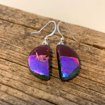 """'Bright Pink Moon' glass earrings - """"Lune Rose"""""""