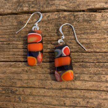 """ Orange Jazz"" glass earrings - "" Jazz orange"" boucles d'oreilles"