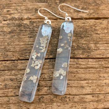 ' Snow Gold'  lavender tint earrings - boucles d'oreilles