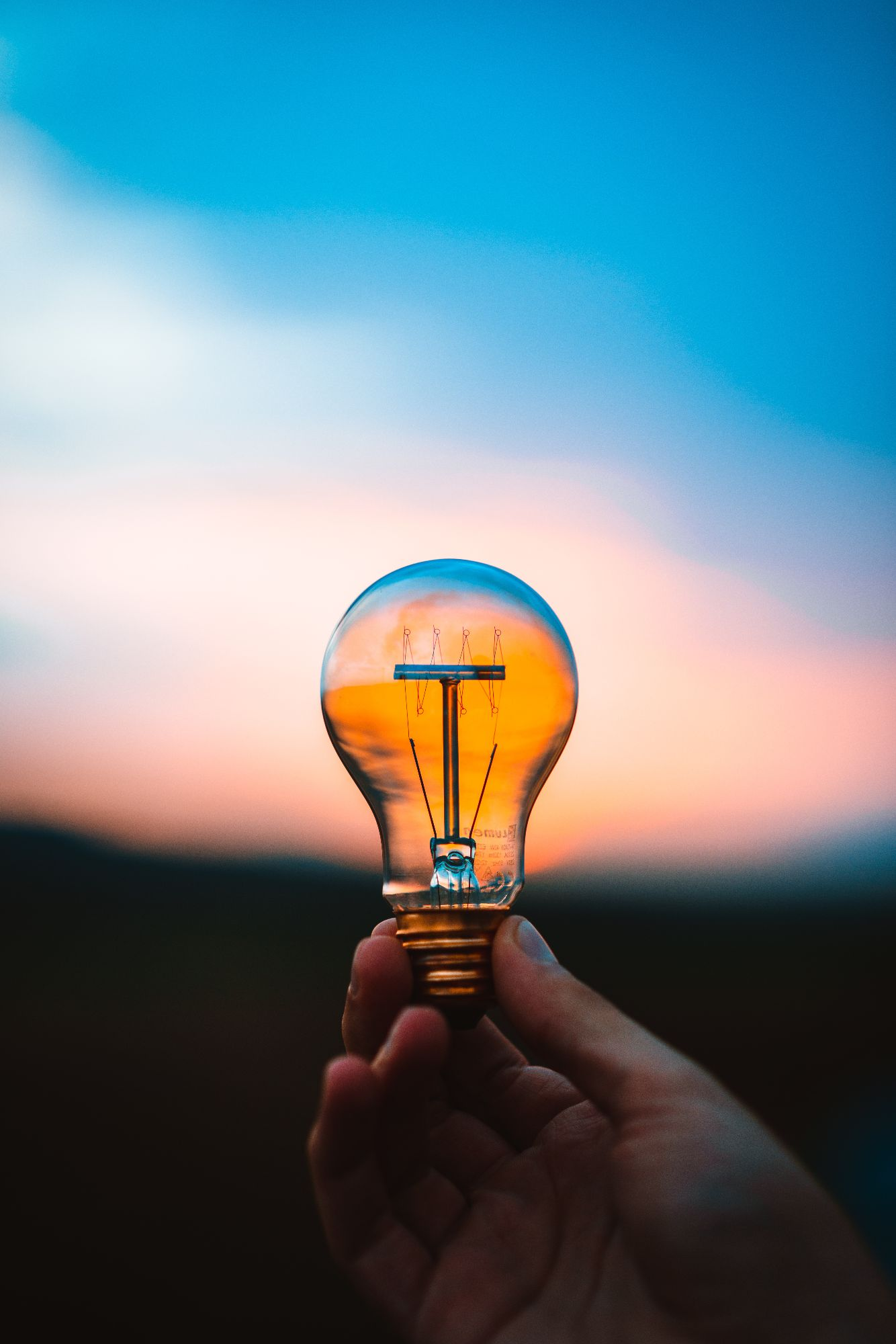 Close up of someone holding a lightbulb with the sun setting in the background