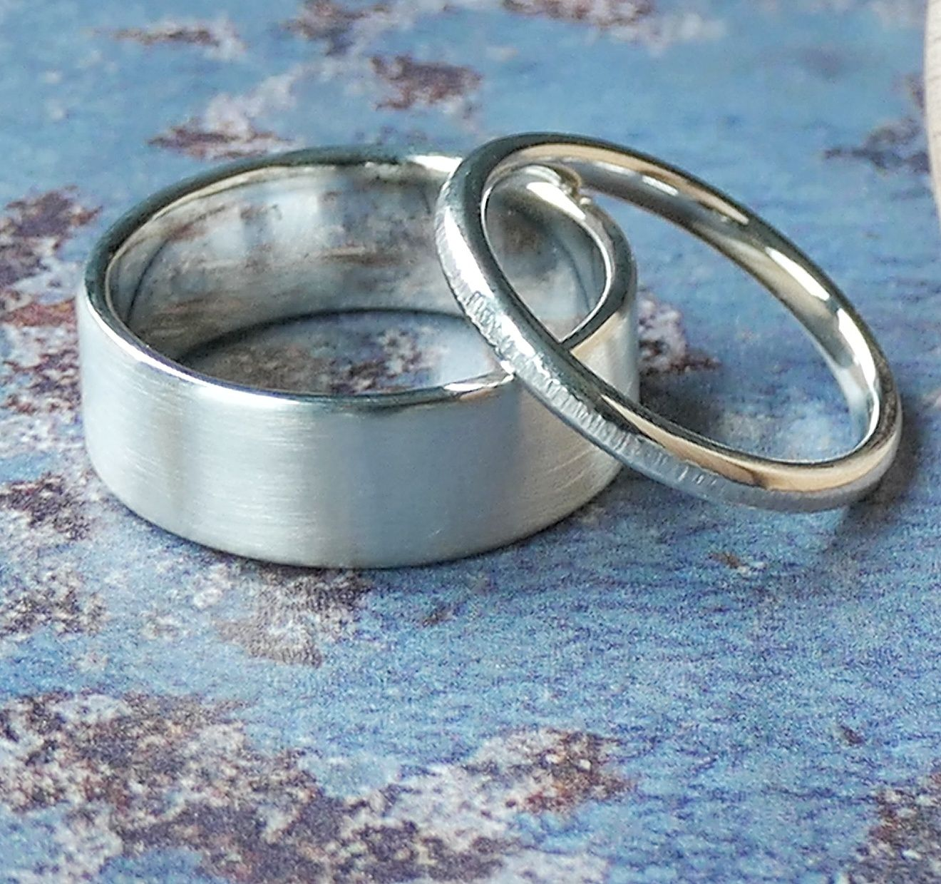 White Gold his & hers wedding rings