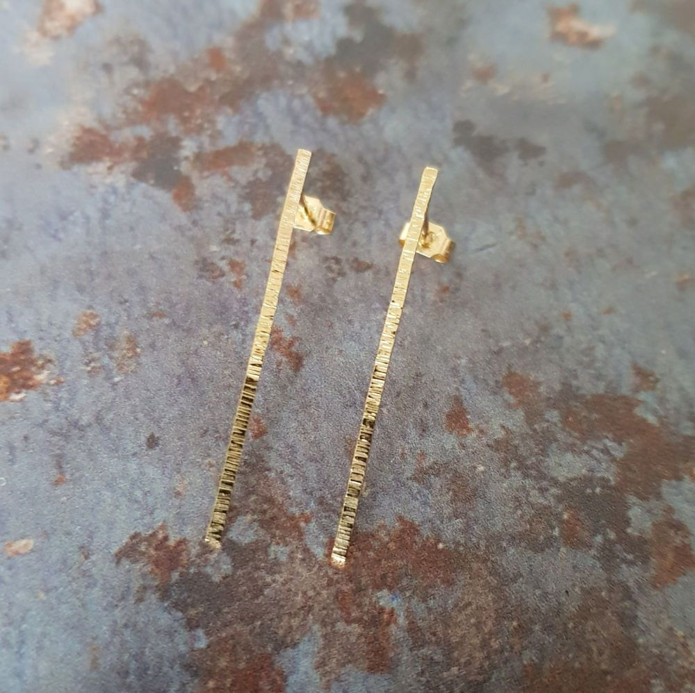 Serrula vertical stud earrings: 9ct yellow gold